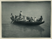 c.1900 PHOTO INDIA PEOPLE ON SMALL FERRY BOAT